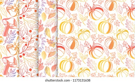 Collection of autumn patterns with leaves,berriess,pumpkins,mushrooms in fall colors.Seamless patterns perfect for prints, flyers,postcards,fabric,wrapping paper and more.Vector autumn backgrounds.