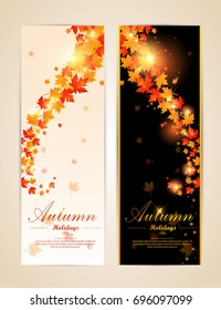 Collection of autumn sale and other typography flyer template with lettering. Bright fall leaves. Poster, card, label, banner design set. Vector
