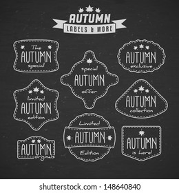 Collection of autumn sales related vintage labels on textured background