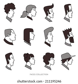 Collection of avatars with different human heads. Vector icons set, outline with fill. Logo templates.