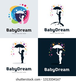 Collection Of Baby Dream with Umbrella Logo Set Design Template Inspiration