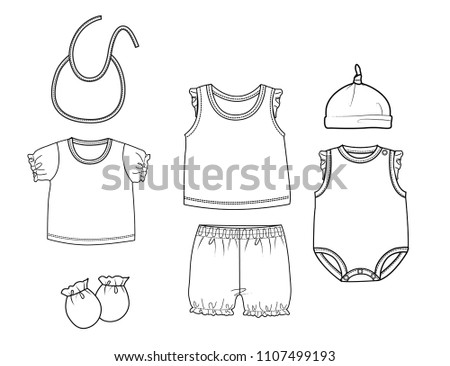 Collection Baby Girl Clothes Design Template