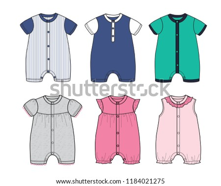 Collection Baby Romper Clothes Design Template Boy And Girl Set