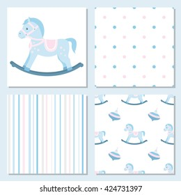 Collection of baby seamless patterns strips and points.Rocking horse.Vector illustration