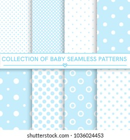 Collection of baby seamless patterns.White and blur colors. Seamless pattern included in swatch panel.Design for fabric, web background, wallpaper, cards, prints of baby goods.Vector background.
