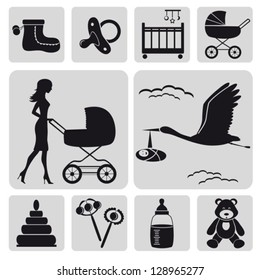 Collection of baby symbols.Vector. EPS-10 (non transparent elements, non gradient)