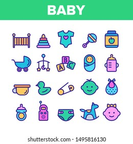 Collection Baby Toys And Elements Vector Icons Set Thin Line. Character Male And Female Baby Infant, Pacifier And Carriage Concept Linear Pictograms. Monochrome Contour Illustrations