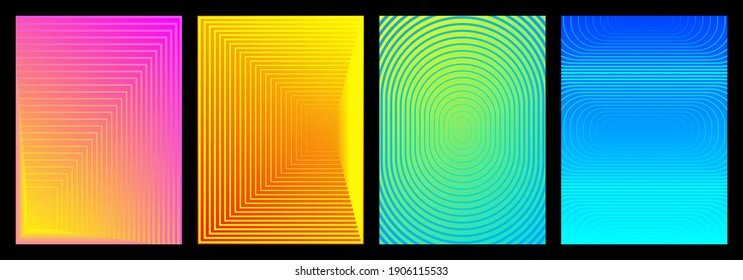 Collection background linear blend from thin to thick. Colorful gradient lines. Compositions for design publication, book cover, poster, magazine, web, wall. Vector illustration.