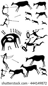 Collection background with a petroglyphic ancient fresco about hunting. Cave paintings of mammoths and antelopes.