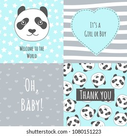 Collection of backgrounds for a Babyshower with a cute panda
