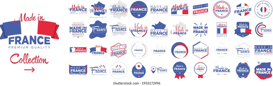"""Collection of badge logotype """"Made in France"""" with ribbon and flag on white background, For art template design, page, mockup brochure style, banner, idea, cover, booklet, print, flyer, book, card"""