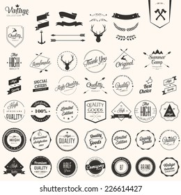 Collection of badges and labels