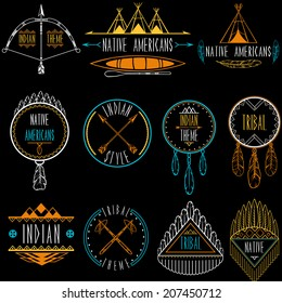 Collection of badges and labels in indian tribal style. Vector illustration.