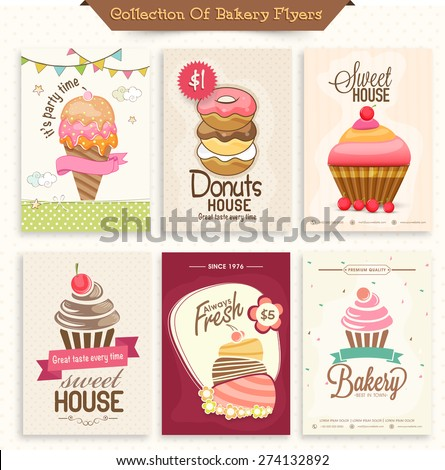 collection bakery flyers menu cards decorated stock vector royalty