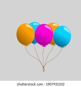 collection of balloons in cartoon flat style isolated on silver background.Illustration vector
