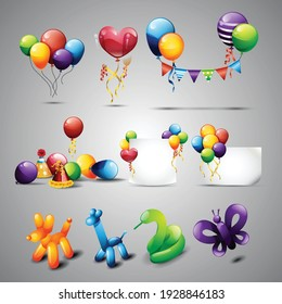 Collection of balloons and decoration objects