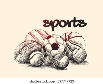 Collection of balls, sports balls, Hand Drawn Sketch Vector Background.
