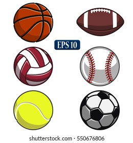 collection of balls,sports balls, vector ball,white background,volleyball,basketball,tennis,American football,baseball,soccer