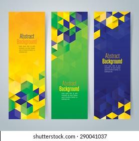 Collection banner design, Brazil flag color background, vector illustration.