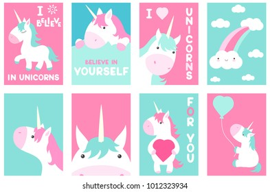 Collection of banner, flyer, placard with cute unicorns. Poster set for scrapbooking. Vector template card for greeting, decoration, congratulation in pink and green colors. EPS8