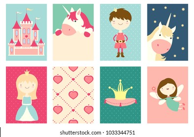 Collection of banner, flyer, placard with cute princess, prince, fairy, unicorn, castle. Poster set for scrapbooking. Vector template card for greeting, decoration, congratulation in retro color. EPS8