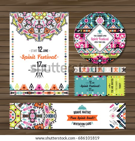 collection banners flyers invitations geometric elements stock