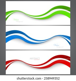 Collection banners modern wave design. Colorful background. Vector illustration. Clip-art