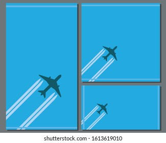 A collection of banners for social networks for a travel company. Square, horizontal and vertical banner in the format 1: 1, 9:16, 2560x1440 with an airplane in the sky and place for text