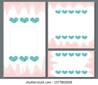 Collection of banners for social networks for Valentine's Day, weddings, dates. Vector heart of leaves in the format 1: 1, 9:16, 2560x1440 with place for text and photo
