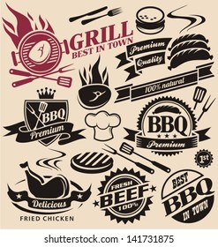 Collection of barbecue vector signs, symbols, logos, icons and design elements. Grill food badges, stickers and labels set.