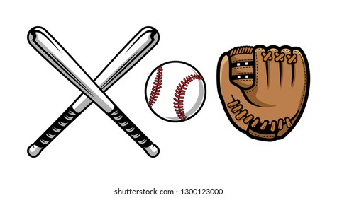 Collection of baseball equipment illustrations contains Bat, Gloves and Ball.