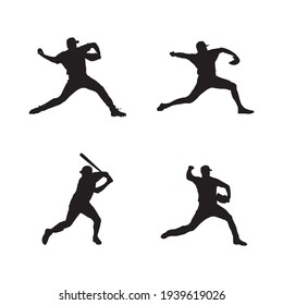 collection of baseball player silhouettes