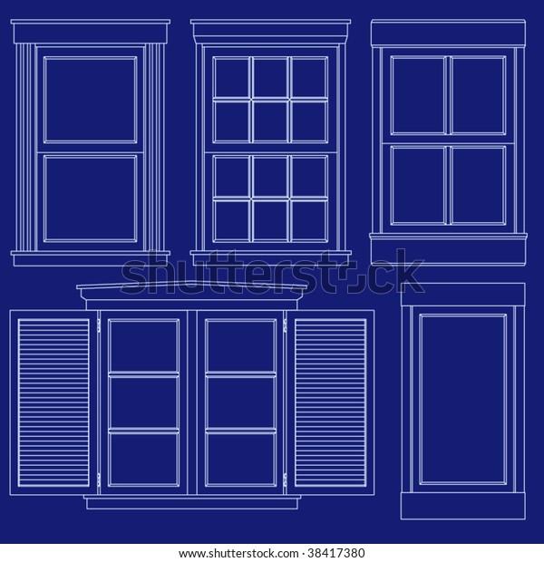 Collection Basic Windows Blueprint Vector Style Stock Vector