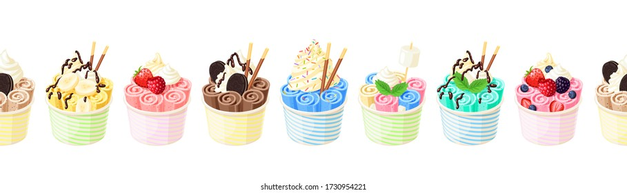 Collection of baskets of colorful stir fried ice cream rolls. Seamless horizontal background. Design template for promo, menu, flyer. Vector illustration cartoon flat icon set on white.