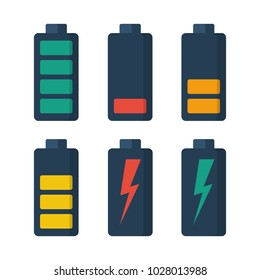 Collection battery. Set of batteries with different levels of charge. Energy power. Vector illustration flat design. Isolated on white background. Accumulator electrica. Charging of capacitive devices