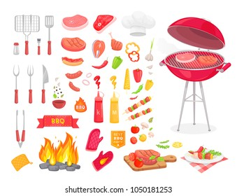 Collection of BBQ cutlery and various meat dishes, vector illustration, icons of barbecue steaks and sausages, vegetables and kebabs, knife and grid. Set of BBQ objects