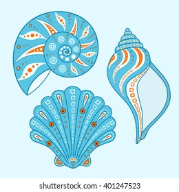 Collection of beach shells isolated on white background. Set of sea shells in a cartoon style. Vector illustration. Hand drawing.