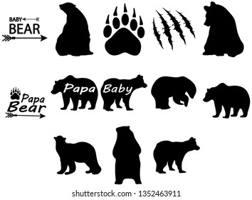 A collection of bear silhouettes in different positions. Papa Bear.