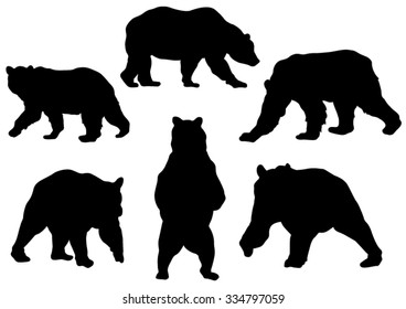 Collection of the Bear Silhouettes. Vector Image