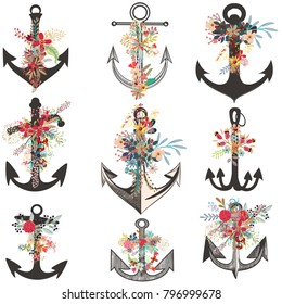 Collection of beautiful anchors decorated by flowers
