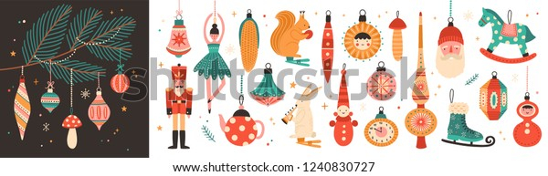 Collection of beautiful baubles and decorations for Christmas tree. Set of holiday ornaments. Figures of animals, Santa Claus, nutcracker, ballerina. Colored vector illustration in flat cartoon style.