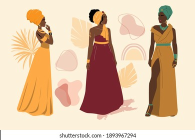 Collection of beautiful fashion African American woman. Vector abstract illustration. Avatar set