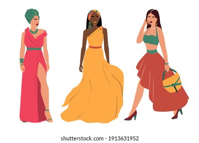 Collection of beautiful fashion woman. Vector abstract illustration trend style. Avatar