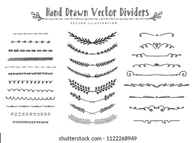 Collection of beautiful flourishes calligraphic ornaments and dividers. Decor of design elements, decorations for postcard, banners, dividers. Vector illustration template.