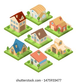 Collection of beautiful houses - vector