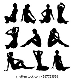 Collection of Beautiful sexy bikini girls sitting in different poses. Black profile of slim woman body isolated on white background. Pinup beautiful sexy girl vector silhouette.
