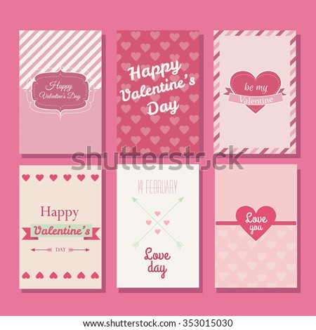 Collection Beautiful Valentines Greeting Cards Made Stock Vector