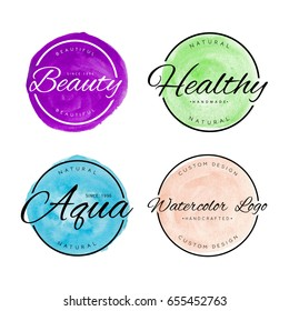 Collection Of Beauty Watercolor Tag Logo For Business. Vector Isolated.