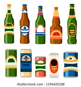 Collection of beer cans and bottles. Template flat icon. Alcoholic drink. Illustration isolated on white background.