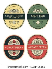collection of beer labels in retro style